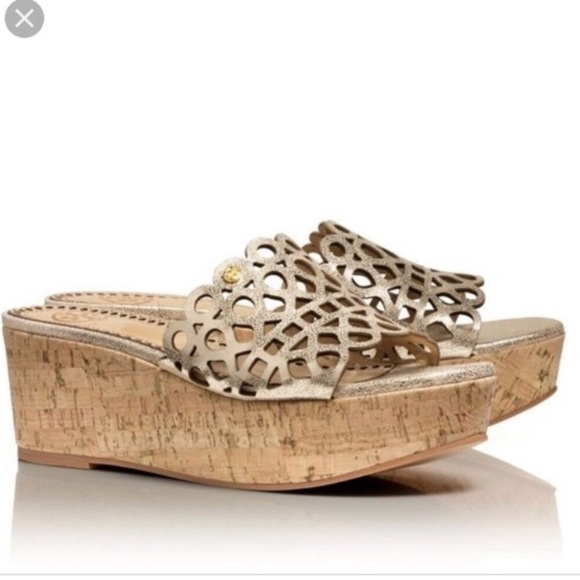 Tory Burch Shoes - Tory Burch Metallic Gold Dunn Platform Slides